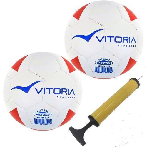 Kit 2 Bolas Futsal Vitoria Brx 200 Sub 13 Infantil + Bomba Ar