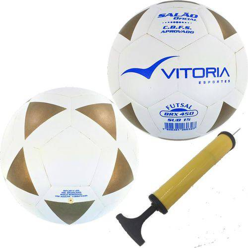 Kit 2 Bolas Futsal Vitoria Brx 450 Sub 15 Juvenil Bomba Ar