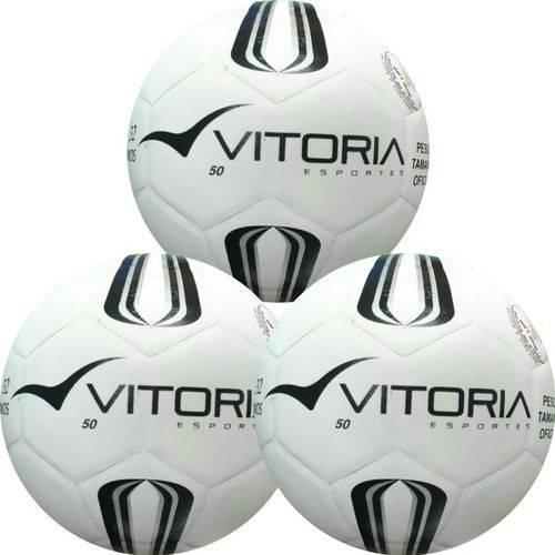 KIt 3 Bolas Futsal Vitoria Oficial Prata Max 50 Sub 9