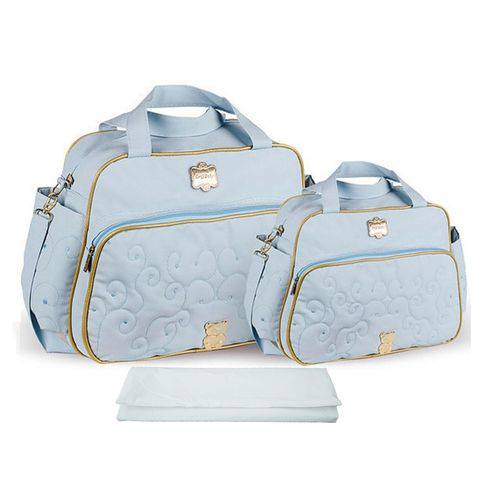 Kit Bolsa Maternidade Azul Claro com Trocador - Azul