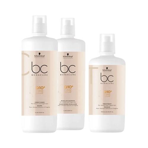 Kit Bonacure Tratamento + Condicionador 1000ml Grátis Shampoo Q10 Time Restore 750ml