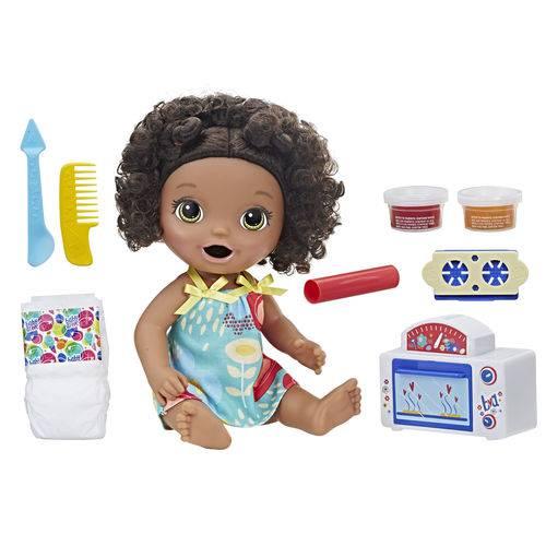 Kit Boneca Baby Alive e Acessórios - Meu Forninho e Comidinhas - Negra - E2099 - Hasbro