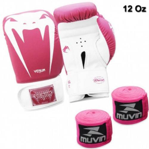 Kit Boxe com Luva Venum Giant Brasil 12 Oz Rosa + 2 Bandagens