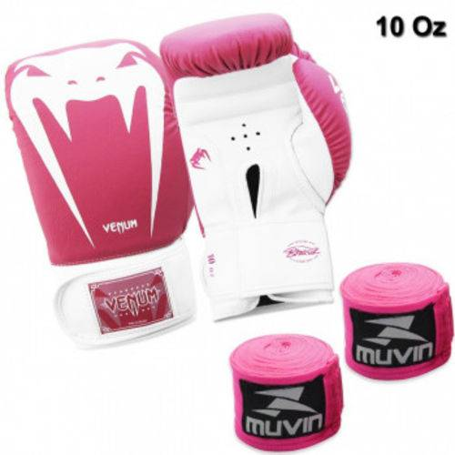 Kit Boxe com Luva Venum Giant Brasil 10 Oz Rosa + 2 Bandagens