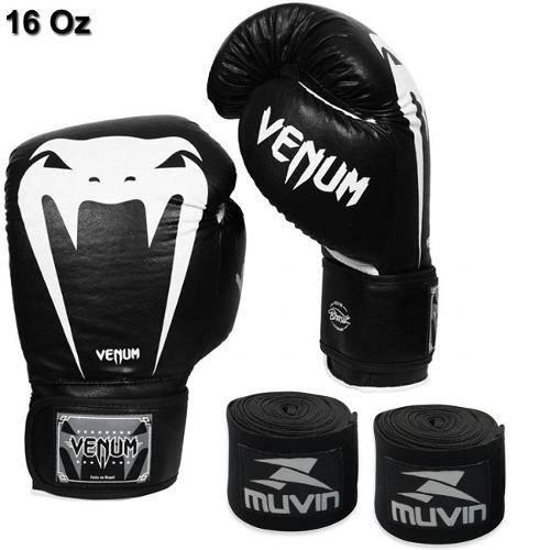 Kit Boxe com Luva Venum Giant Brasil 16 Oz Preto + 2 Bandagens