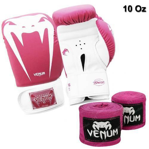 Kit Boxe Luva Venum Giant Brasil 10 Oz Rosa + 2 Bandagens