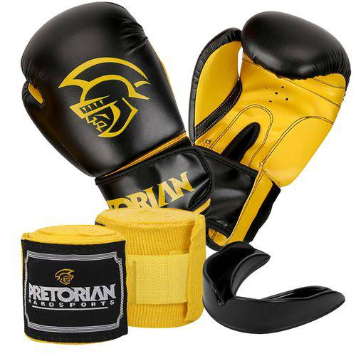 Kit Luva Pretorian First Preto/Amarelo 12oz