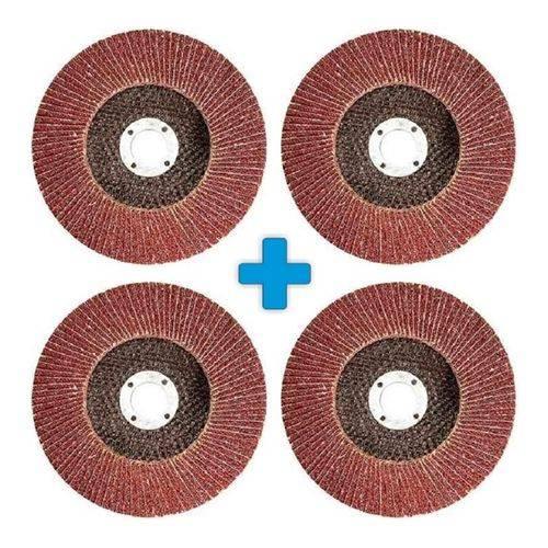 Kit C/ 04 Disco de Lixa de Desbaste Tipo Flap 4.1/2 Grão 60 Mtx