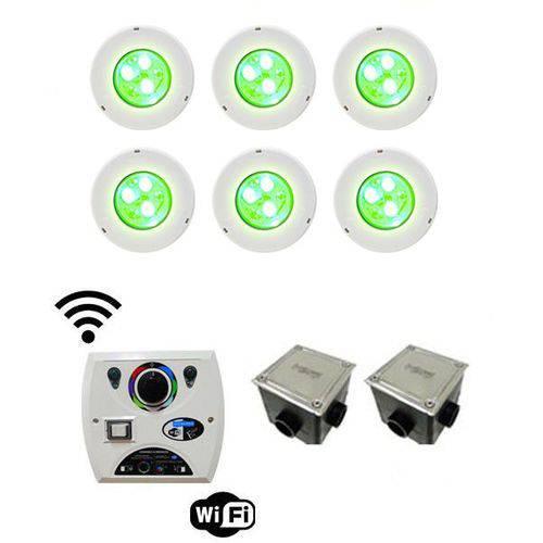 Kit C/ 6 Leds Iluminação P/ Piscinas Até 84m² Sodramar Modelo Hiper Led Rgb 9w Frontal Abs + Comando Four Fix