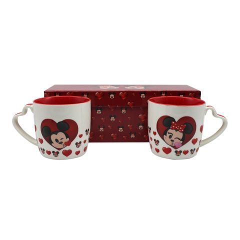 Kit C/2 Canecas Alça Coração Mickey e Minnie