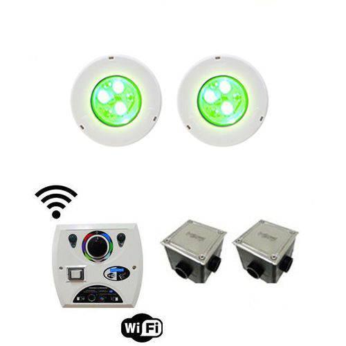 Kit C/ 2 Leds Iluminação P/ Piscinas Até 28m² Sodramar Modelo Hiper Led Rgb 9w Frontal Abs + Comando Four Fix