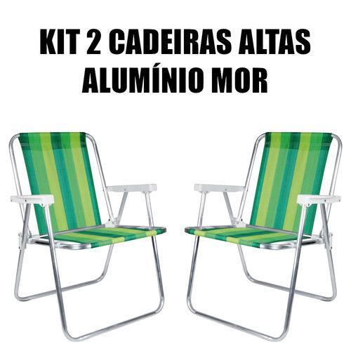 Kit 2 Cadeira Alta Alumínio Mor