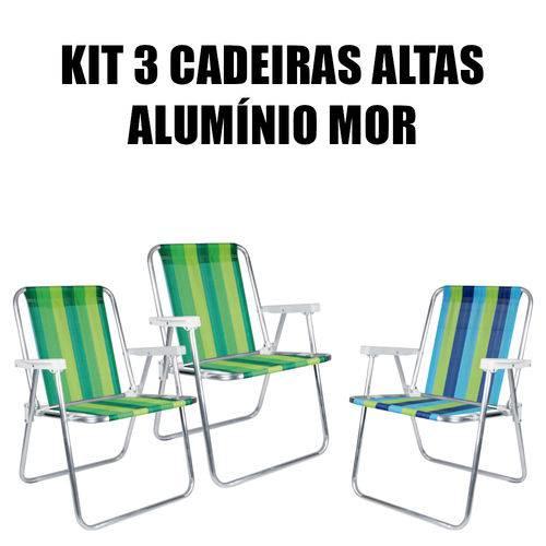 Kit 3 Cadeira Alta Alumínio Mor