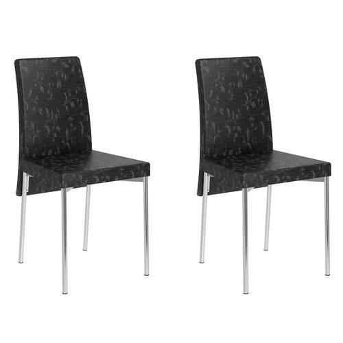 Kit 2 Cadeiras 306 Fantasia Preto/Cromado - Carraro Móveis