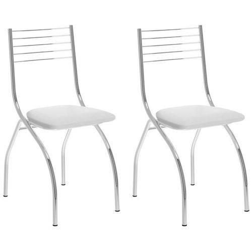 Kit 2 Cadeiras 146 Cromado/branco - Carraro