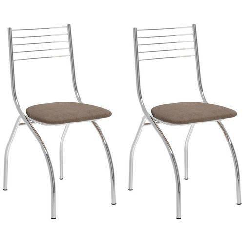 Kit 2 Cadeiras 146 Cromado/conhaque - Carraro