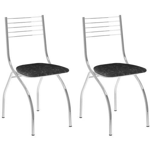 Kit 2 Cadeiras 146 Cromado/fantasia Preto - Carraro
