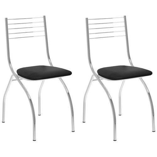 Kit 2 Cadeiras 146 Cromado/preto - Carraro