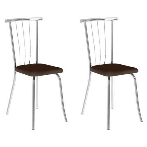 Kit 2 Cadeiras 154 Cromado/cacau - Carraro