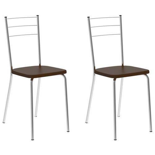 Kit 2 Cadeiras 1703 Cromado/cacau - Carraro