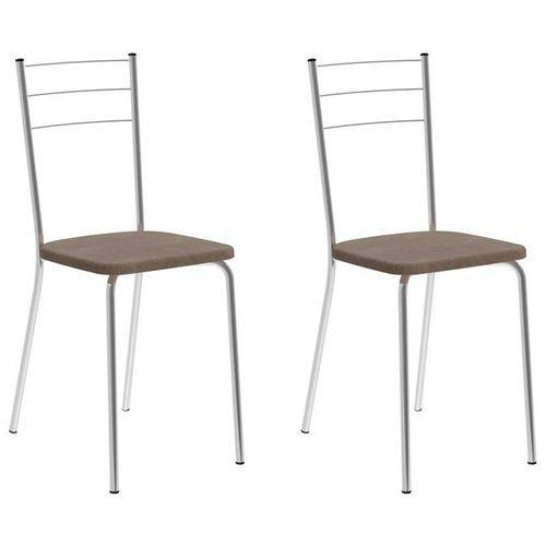 Kit 2 Cadeiras 1703 Cromado/conhaque - Carraro