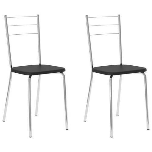 Kit 2 Cadeiras 1703 Cromado/preto - Carraro
