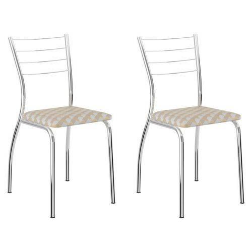 Kit 2 Cadeiras 1700 Cromado/bege Retrô Metalizado - Carraro