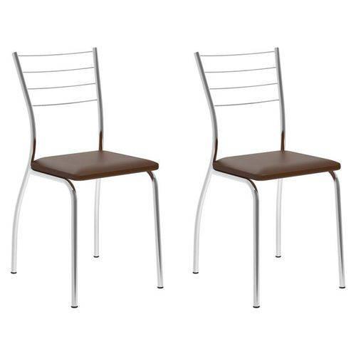 Kit 2 Cadeiras 1700 Cromado/cacau - Carraro
