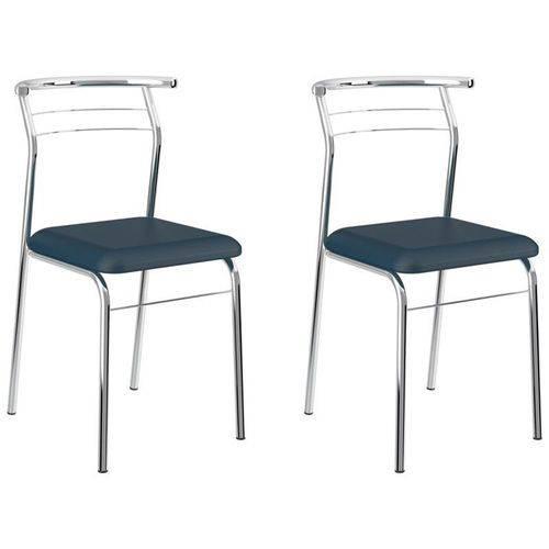 Kit 2 Cadeiras 1708 Cromado/azul - Carraro