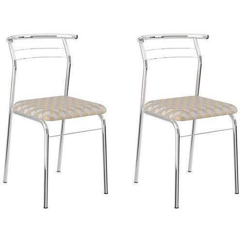 Kit 2 Cadeiras 1708 Cromado/bege Retrô Metalizado - Carraro