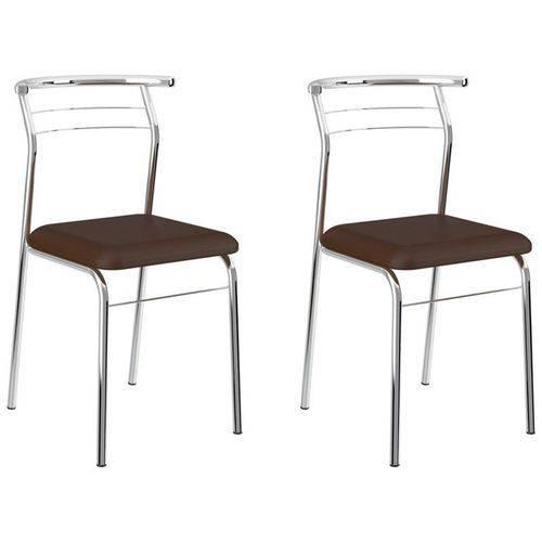 Kit 2 Cadeiras 1708 Cromado/cacau - Carraro