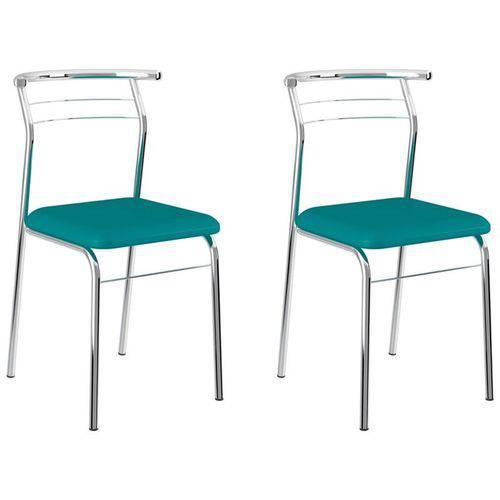 Kit 2 Cadeiras 1708 Cromado/turquesa - Carraro
