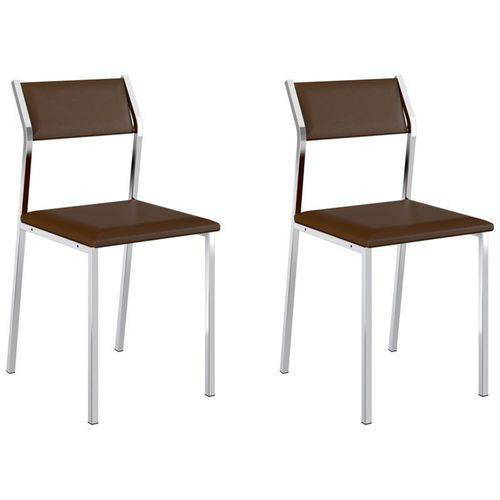 Kit 2 Cadeiras 1709 Cromado/cacau - Carraro