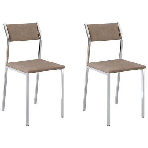 Kit 2 Cadeiras 1709 Cromado/conhaque - Carraro