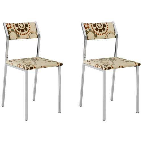 Kit 2 Cadeiras 1709 Cromado/étnico Sépia - Carraro