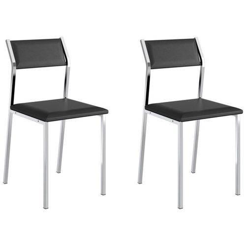 Kit 2 Cadeiras 1709 Cromado/preto - Carraro