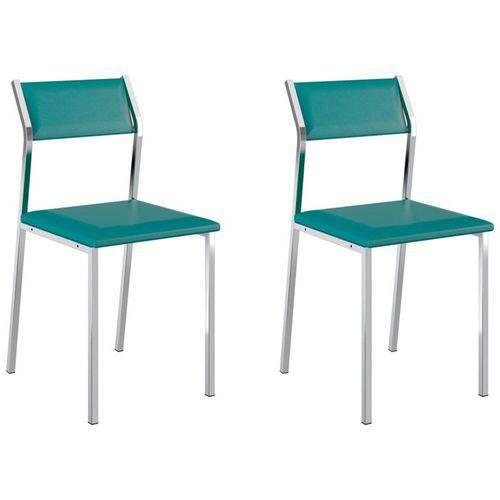 Kit 2 Cadeiras 1709 Cromado/turquesa - Carraro