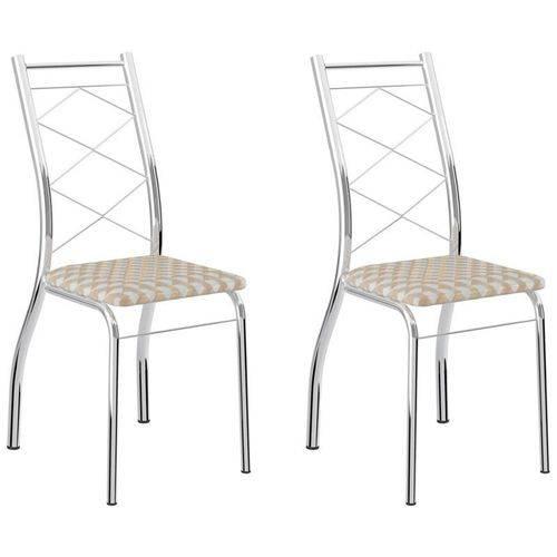 Kit 2 Cadeiras 1710 Cromado/bege Retrô Metalizado - Carraro