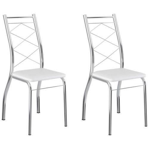 Kit 2 Cadeiras 1710 Cromado/branco - Carraro
