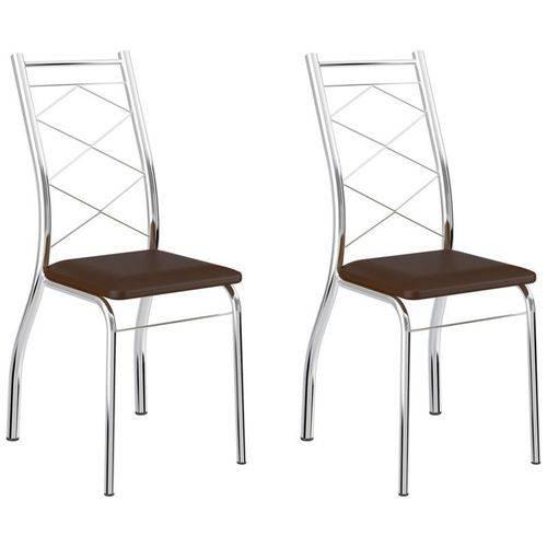 Kit 2 Cadeiras 1710 Cromado/cacau - Carraro