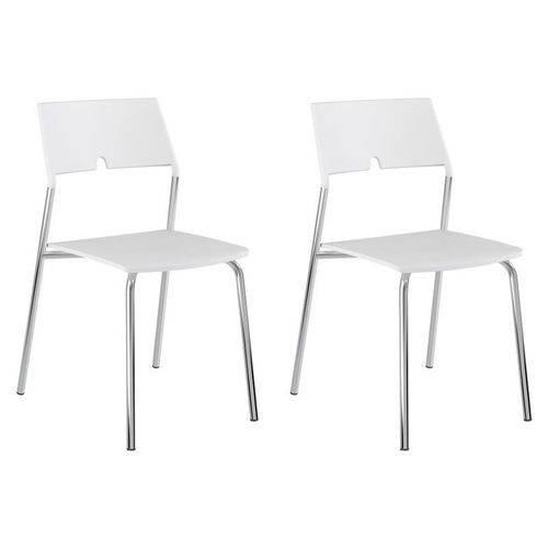 Kit 2 Cadeiras 1711 Cromado/branco - Carraro