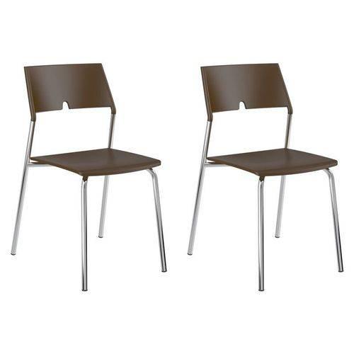 Kit 2 Cadeiras 1711 Cromado/cacau - Carraro