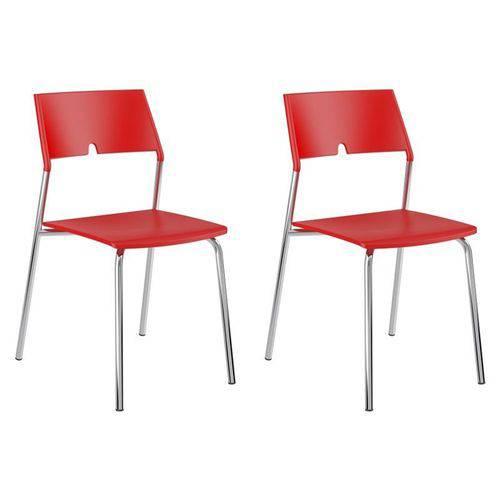Kit 2 Cadeiras 1711 Cromado/vermelho - Carraro