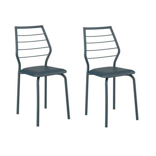 Kit 2 Cadeiras 1716 Azul Noturno - Carraro Móveis