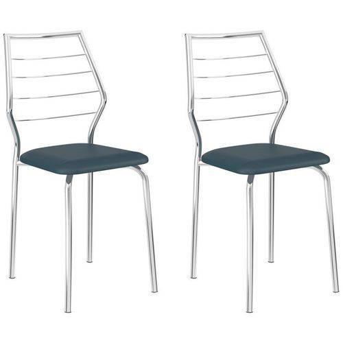Kit 2 Cadeiras 1716 Cromado/azul - Carraro