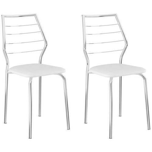 Kit 2 Cadeiras 1716 Cromado/branco - Carraro
