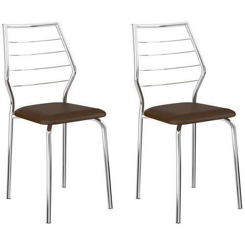 Kit 2 Cadeiras 1716 Cromado/cacau - Carraro