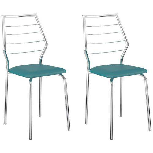 Kit 2 Cadeiras 1716 Cromado/turquesa - Carraro