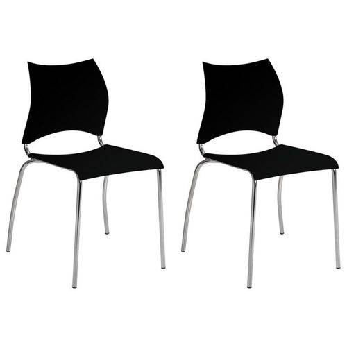 Kit 2 Cadeiras 357 Cromado/preto - Carraro