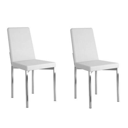 Kit 2 Cadeiras 399 Branco/Cromado - Carraro Móveis
